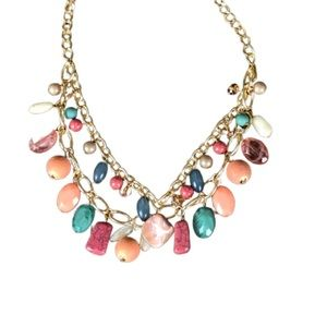 CHUNKY BEADED NECKLACE MULTICOLORED